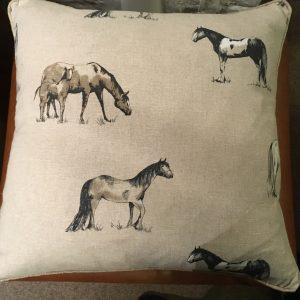 Linen With Random Horse Print Cushion's SOLD