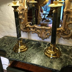 Pair Of Green Marble Table Lamps