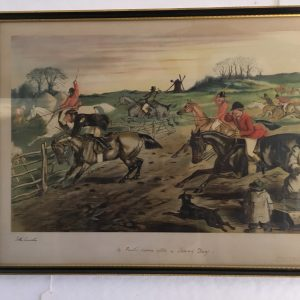 Horse and Hound Hand Coloured Print