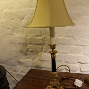 Gilt and Black cast candle stick converted to lamp