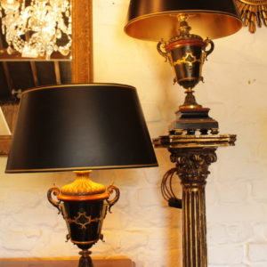 A Pair of French Bronze, Marble and Ormolu Table Lamps