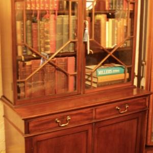 Edwardian Mahogany Glazed Bookcase Cupboard